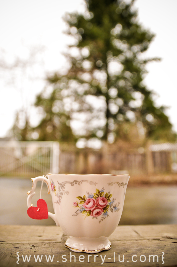 fancy tea cup with heart tea bag